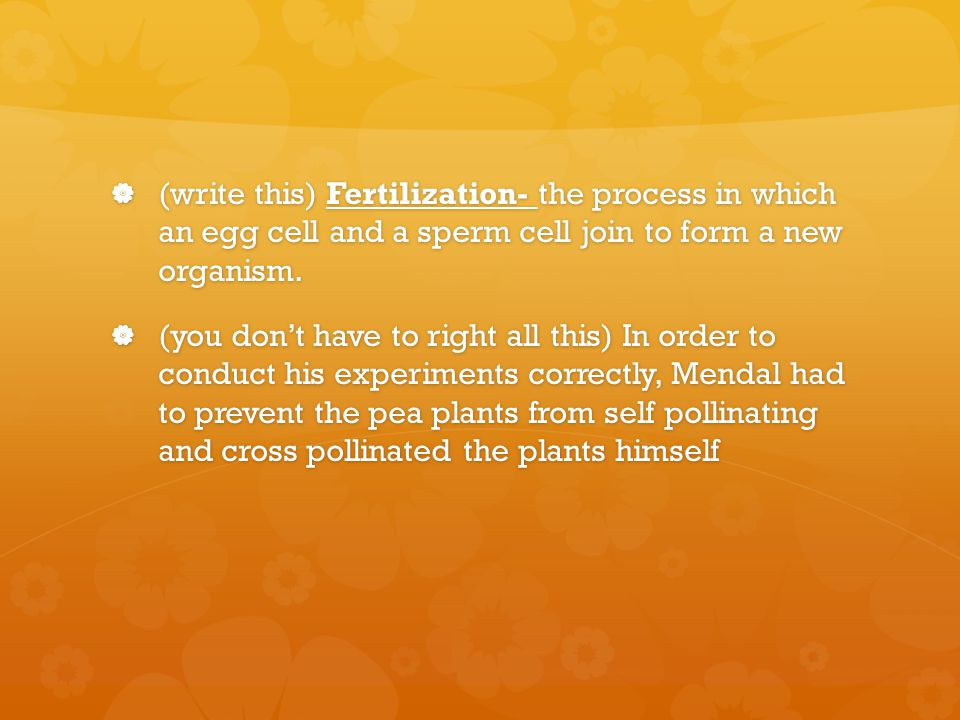  (write this) Fertilization- the process in which an egg cell and a sperm cell join to form a new organism.