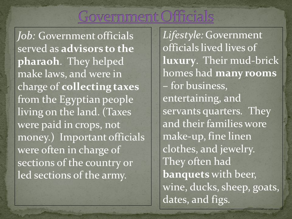 Job: Government officials served as advisors to the pharaoh. They helped make laws, and were in charge of collecting taxes from the Egyptian people li