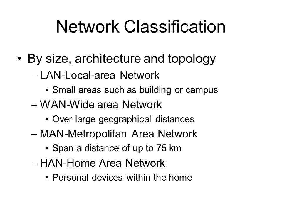 Network Classification By size, architecture and topology –LAN-Local-area Network Small areas such as building or campus –WAN-Wide area Network Over large geographical distances –MAN-Metropolitan Area Network Span a distance of up to 75 km –HAN-Home Area Network Personal devices within the home