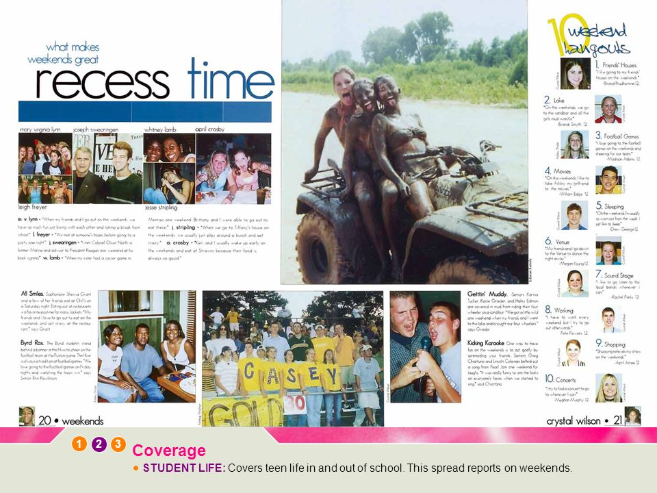 12 3 Coverage STUDENT LIFE: Covers teen life in and out of school. This spread reports on weekends.