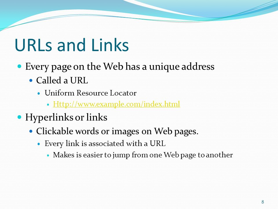 World Wide Web Giant collection of documents, or pages, stored on computers around the globe. Called the Web Web pages are stored on servers Internet-