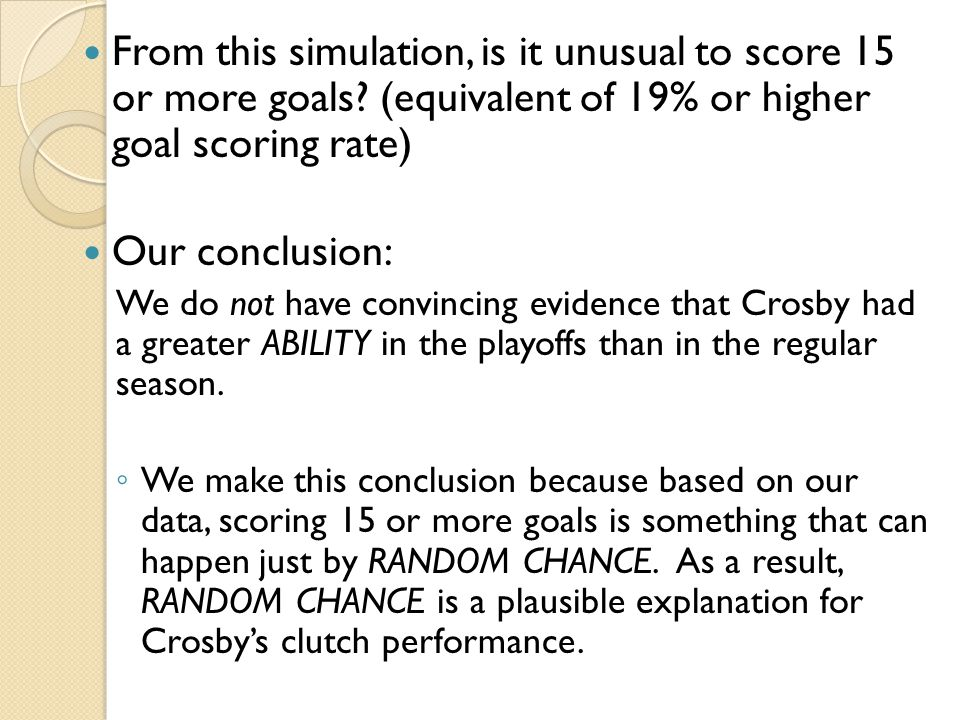 From this simulation, is it unusual to score 15 or more goals? (equivalent of 19% or higher goal scoring rate) Our conclusion: We do not have convinci