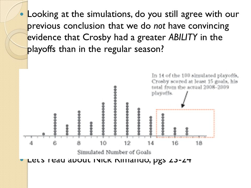 Looking at the simulations, do you still agree with our previous conclusion that we do not have convincing evidence that Crosby had a greater ABILITY