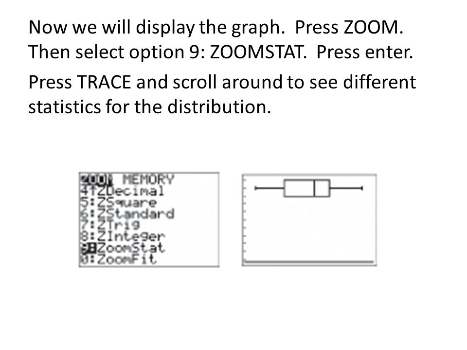 Now we will display the graph.Press ZOOM. Then select option 9: ZOOMSTAT.
