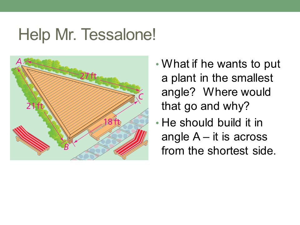 Help Mr.Tessalone. What if he wants to put a plant in the smallest angle.