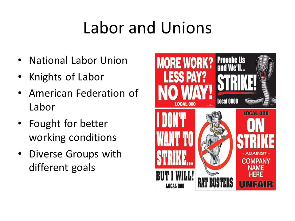 Labor and Unions National Labor Union Knights of Labor American Federation of Labor Fought for better working conditions Diverse Groups with different