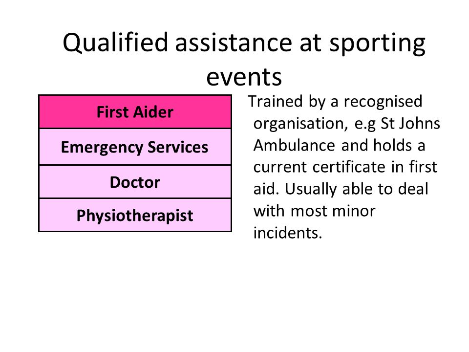Qualified assistance at sporting events Trained by a recognised organisation, e.g St Johns Ambulance and holds a current certificate in first aid.