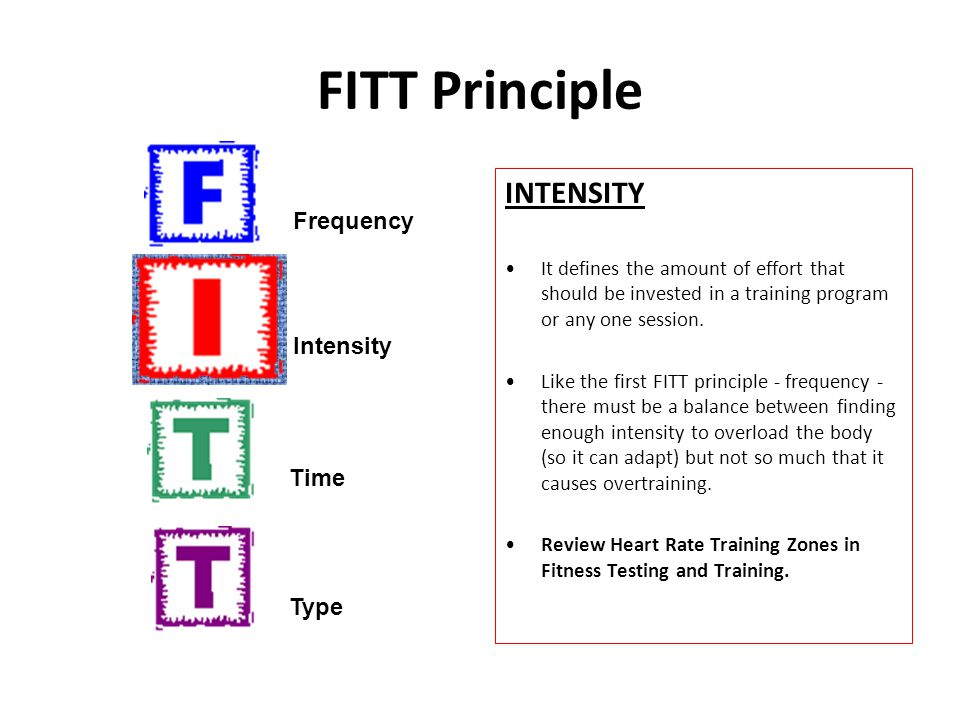 FITT Principle INTENSITY It defines the amount of effort that should be invested in a training program or any one session. Like the first FITT princip