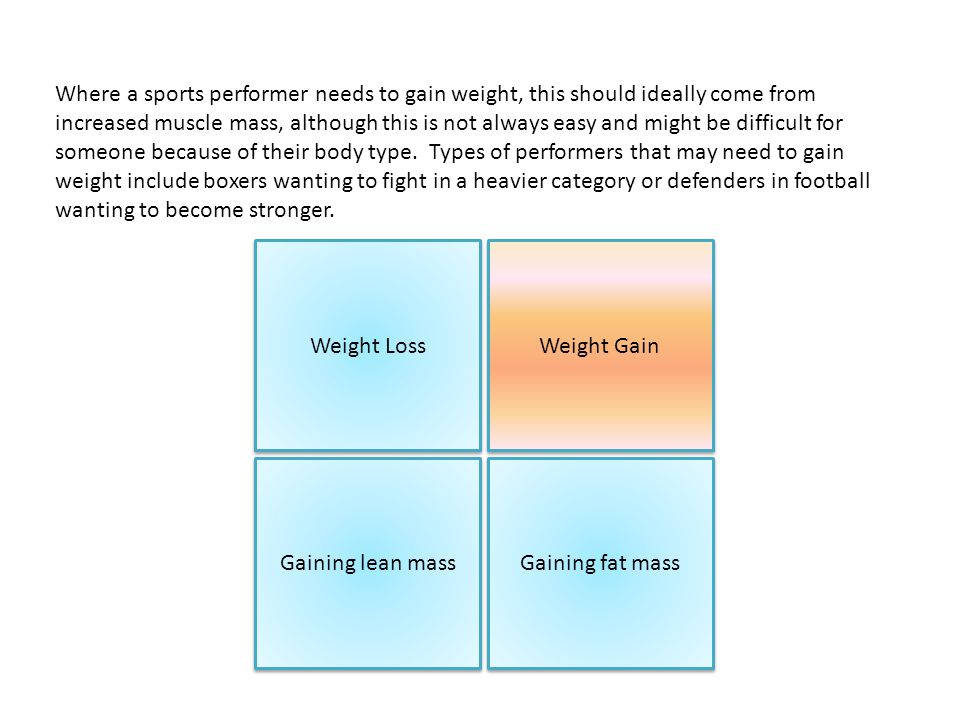 Where a sports performer needs to gain weight, this should ideally come from increased muscle mass, although this is not always easy and might be difficult for someone because of their body type.