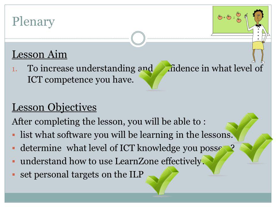 Plenary Lesson Aim 1.