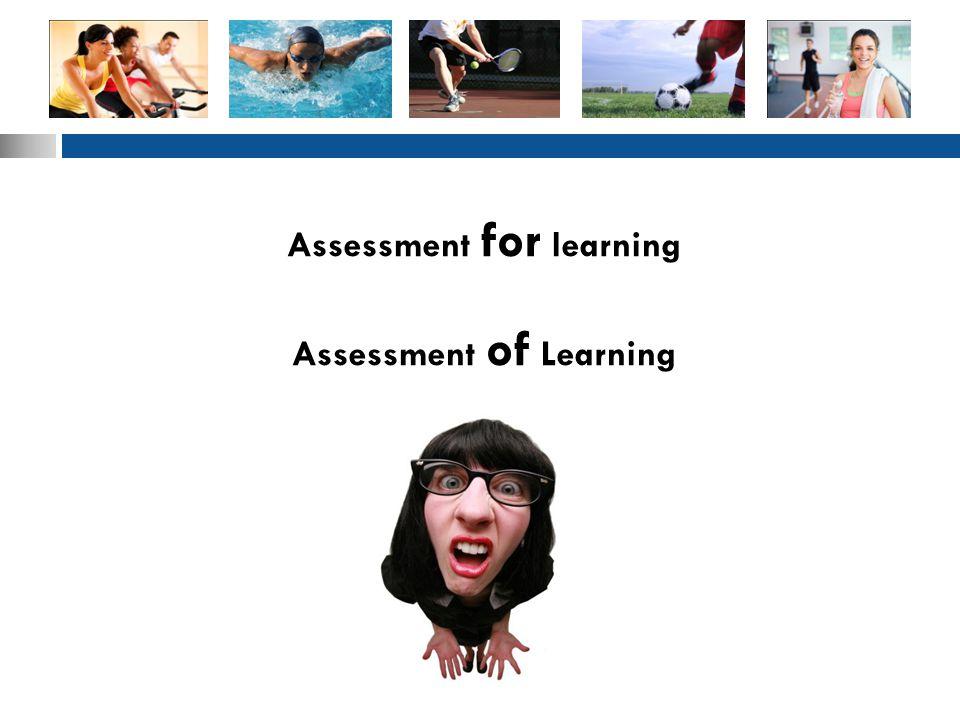 Assessment for learning Assessment of Learning