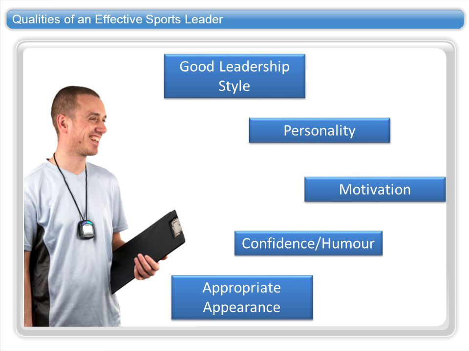 Qualities of an Effective Sports Leader Good Leadership Style Personality Appropriate Appearance Motivation Confidence/Humour