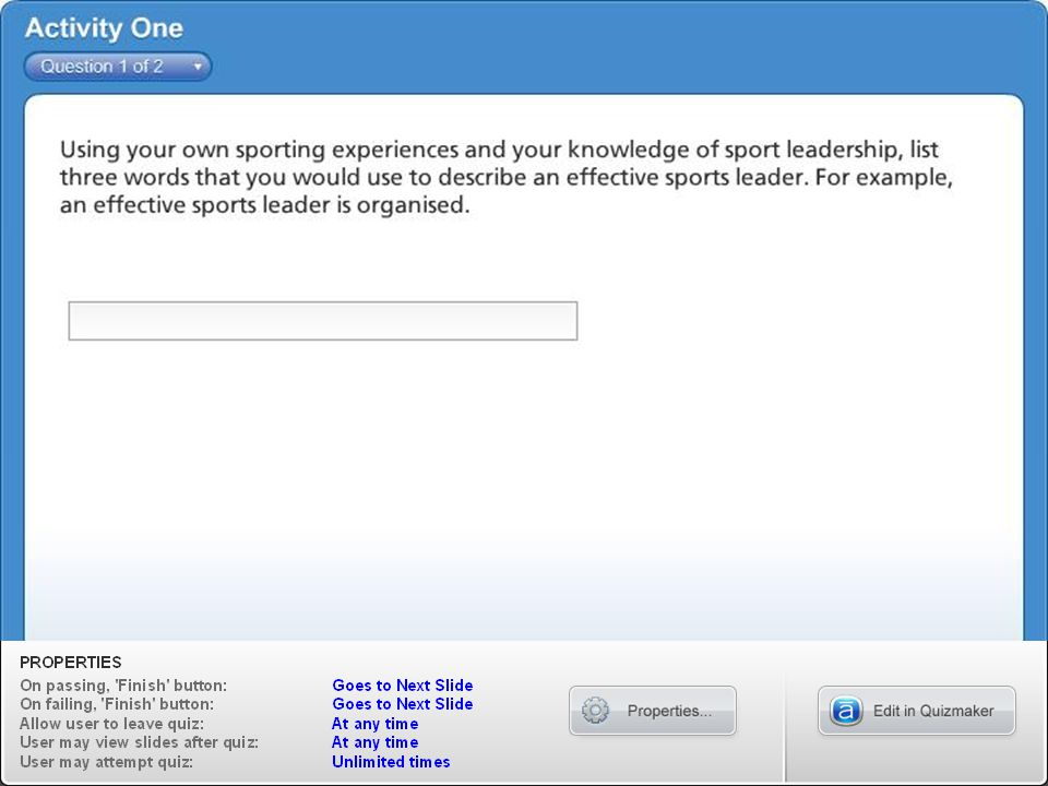 Appearance Sports leaders should dress appropriately when leading sport activity sessions.
