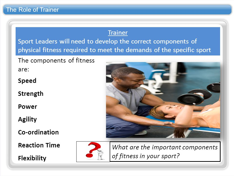 The Role of Trainer What are the important components of fitness in your sport? Trainer Sport Leaders will need to develop the correct components of p