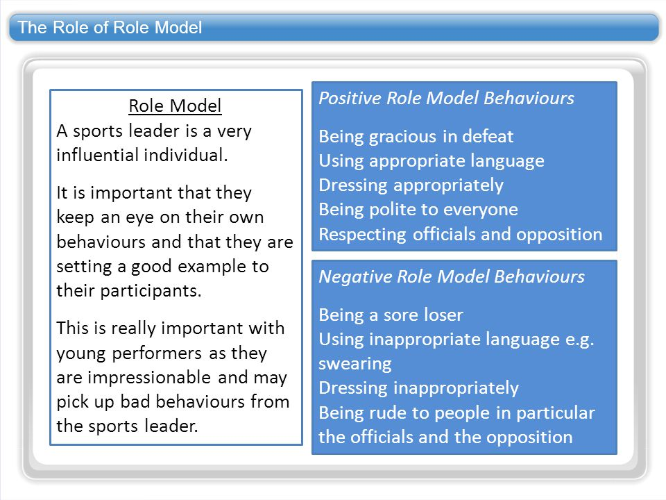 The Role of Role Model Role Model A sports leader is a very influential individual. It is important that they keep an eye on their own behaviours and