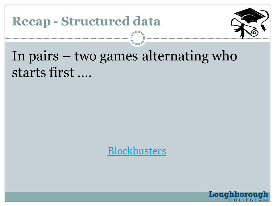 Recap - Structured data In pairs – two games alternating who starts first …. Blockbusters