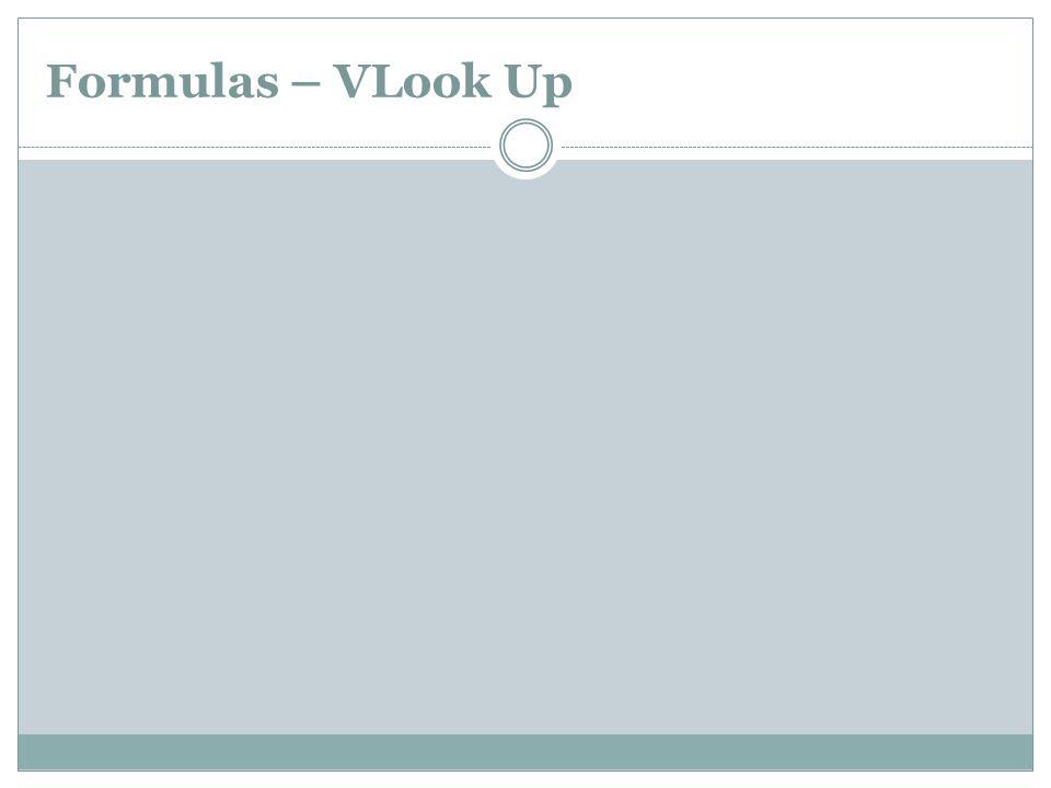 Formulas – VLook Up