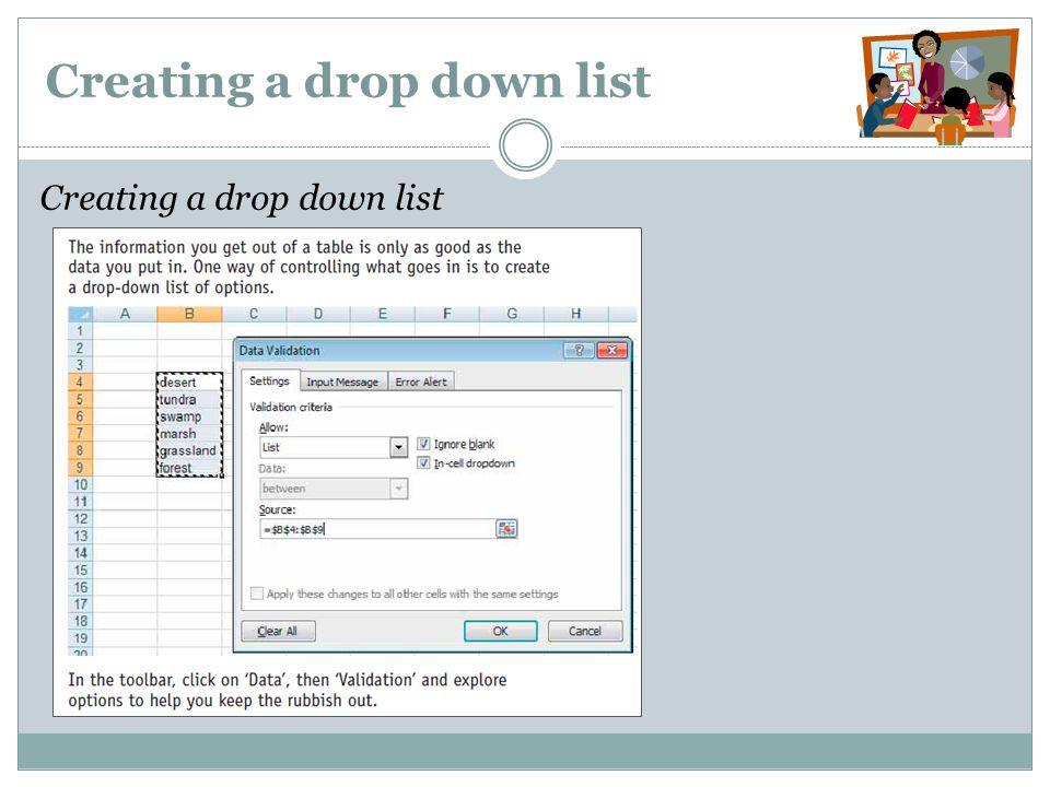 Creating a drop down list