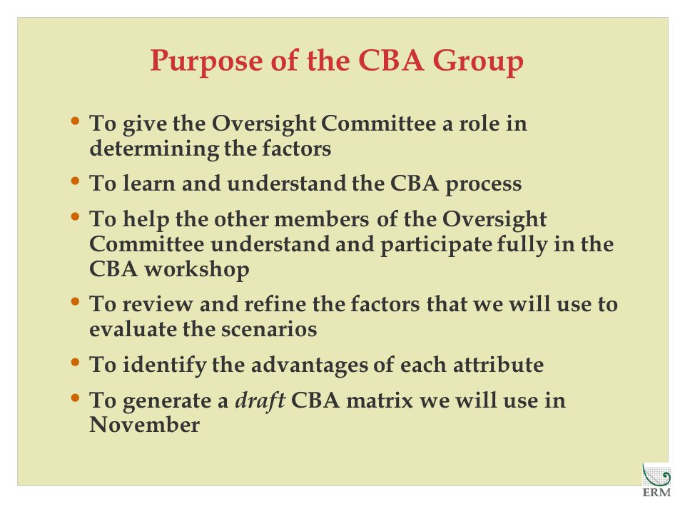 Purpose of the CBA Group To give the Oversight Committee a role in determining the factors To learn and understand the CBA process To help the other members of the Oversight Committee understand and participate fully in the CBA workshop To review and refine the factors that we will use to evaluate the scenarios To identify the advantages of each attribute To generate a draft CBA matrix we will use in November