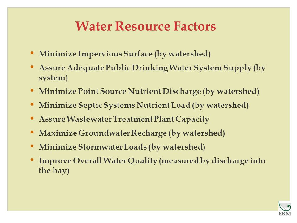Water Resource Factors Minimize Impervious Surface (by watershed) Assure Adequate Public Drinking Water System Supply (by system) Minimize Point Source Nutrient Discharge (by watershed) Minimize Septic Systems Nutrient Load (by watershed) Assure Wastewater Treatment Plant Capacity Maximize Groundwater Recharge (by watershed) Minimize Stormwater Loads (by watershed) Improve Overall Water Quality (measured by discharge into the bay)