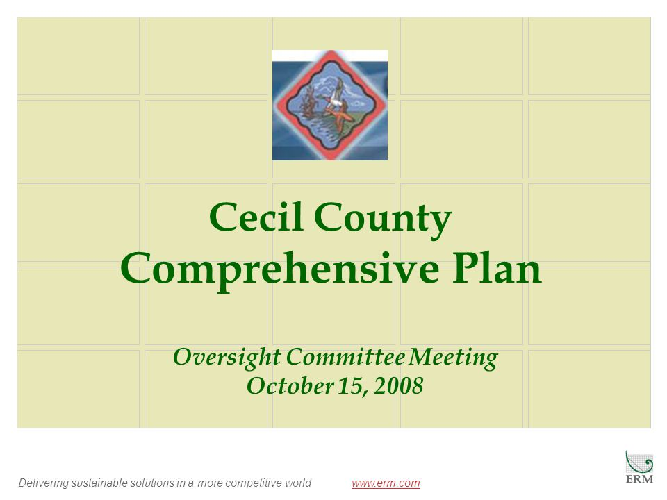 Delivering sustainable solutions in a more competitive world www.erm.comwww.erm.com Cecil County Comprehensive Plan Oversight Committee Meeting October 15, 2008