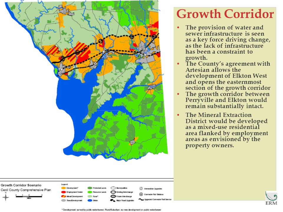 Growth Corridor The provision of water and sewer infrastructure is seen as a key force driving change, as the lack of infrastructure has been a constraint to growth.