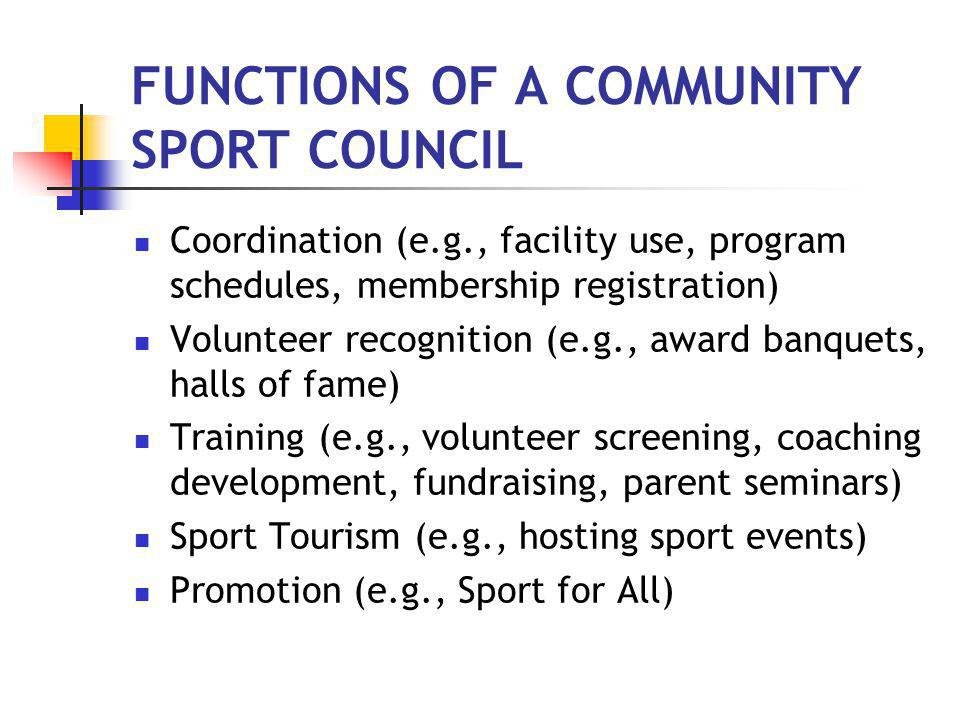 THE TIMING IS RIGHT FOR A COMMUNITY SPORT COUNCIL
