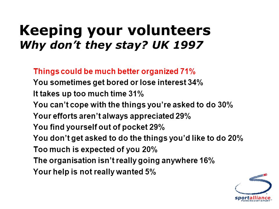 Keeping your volunteers Why don't they stay.