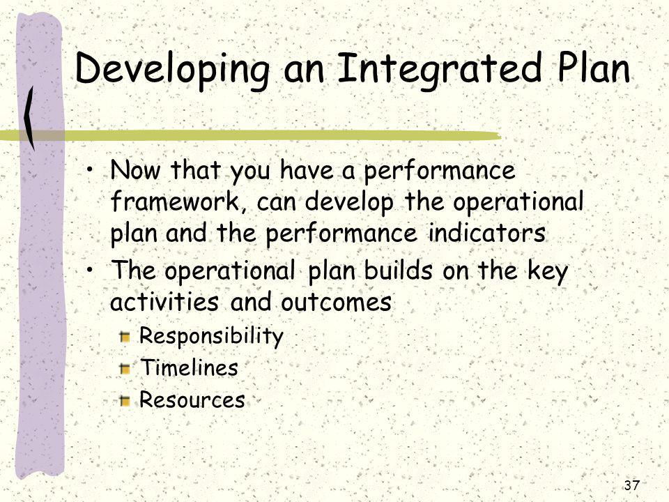 37 Developing an Integrated Plan Now that you have a performance framework, can develop the operational plan and the performance indicators The operational plan builds on the key activities and outcomes Responsibility Timelines Resources