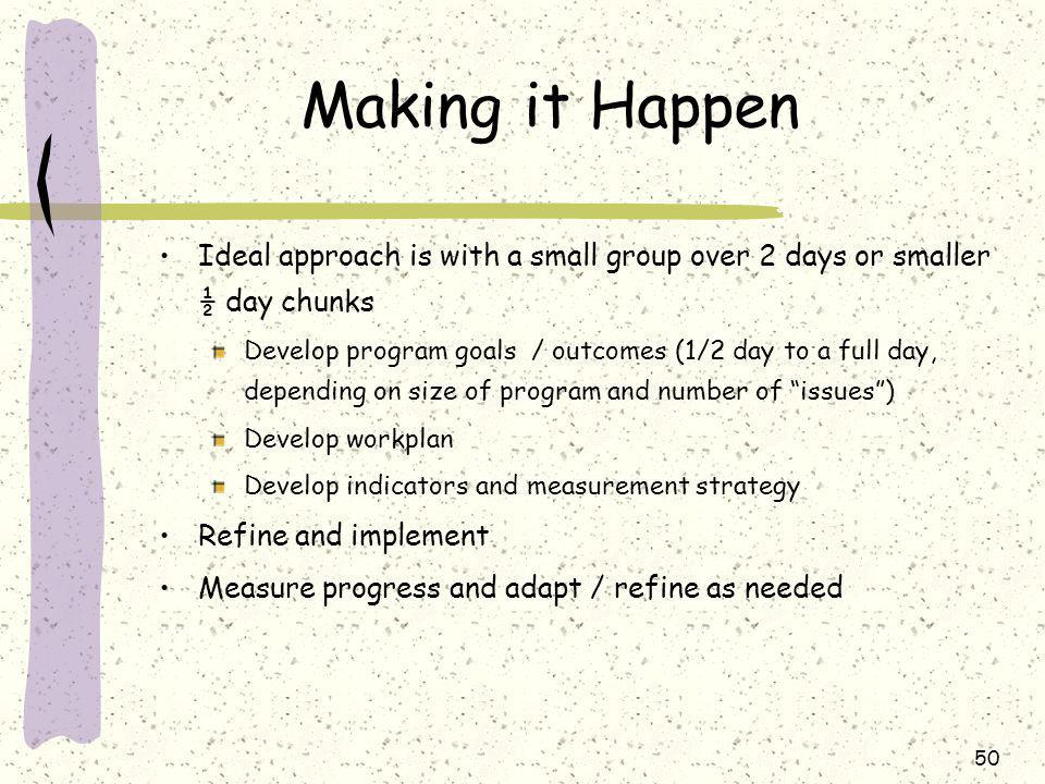 50 Making it Happen Ideal approach is with a small group over 2 days or smaller ½ day chunks Develop program goals / outcomes (1/2 day to a full day, depending on size of program and number of issues ) Develop workplan Develop indicators and measurement strategy Refine and implement Measure progress and adapt / refine as needed