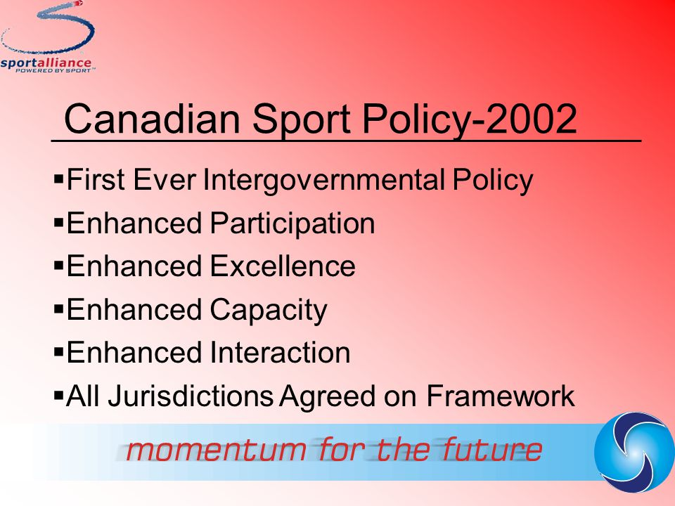 Canadian Sport Policy-2002  First Ever Intergovernmental Policy  Enhanced Participation  Enhanced Excellence  Enhanced Capacity  Enhanced Interac
