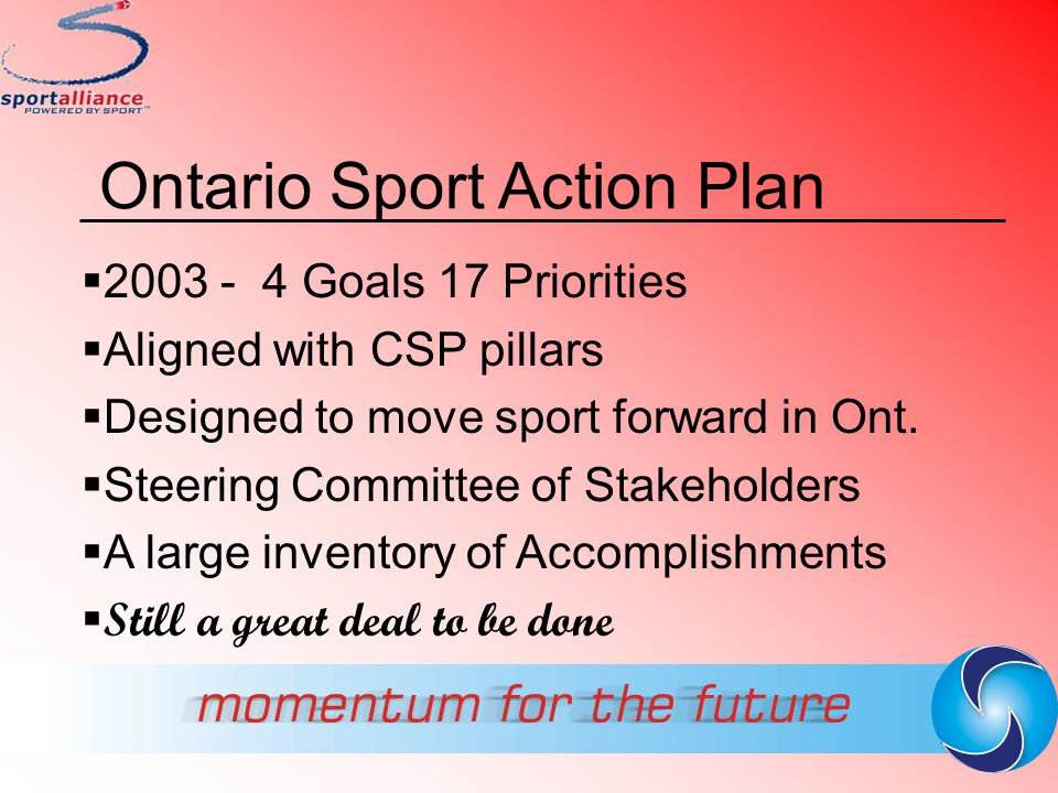 Ontario Sport Action Plan  2003 - 4 Goals 17 Priorities  Aligned with CSP pillars  Designed to move sport forward in Ont.  Steering Committee of S