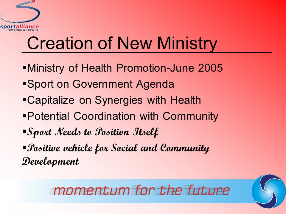 Creation of New Ministry  Ministry of Health Promotion-June 2005  Sport on Government Agenda  Capitalize on Synergies with Health  Potential Coord