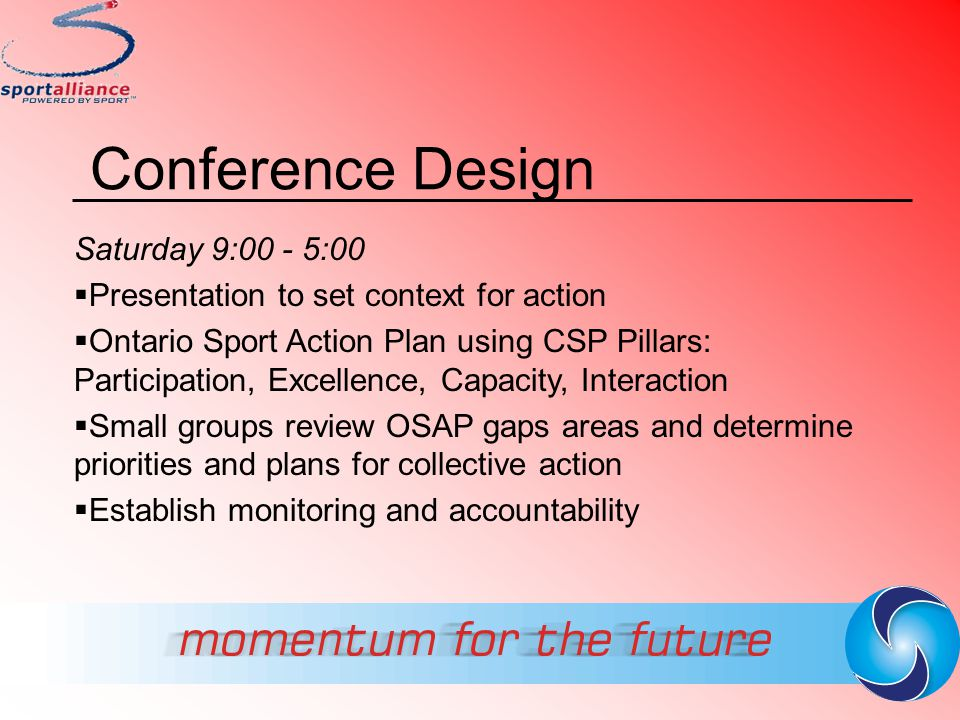Ontario Sport Action Plan  2003 - 4 Goals 17 Priorities  Aligned with CSP pillars  Designed to move sport forward in Ont.
