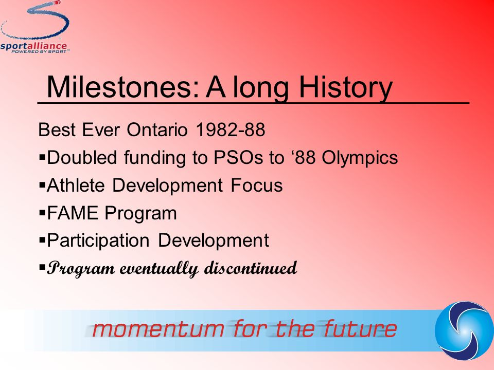 Program Devolution 1985-1993:  Transfer of Programs to OSRC  Coaching,Safety, Athlete Assistance  FAME  Some Programs Wound Down