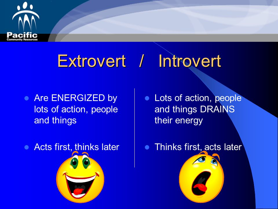 Extrovert / Introvert Learn best through doing or discussing Have broad interests Readily take initiative in work and relationships Learn best by refl