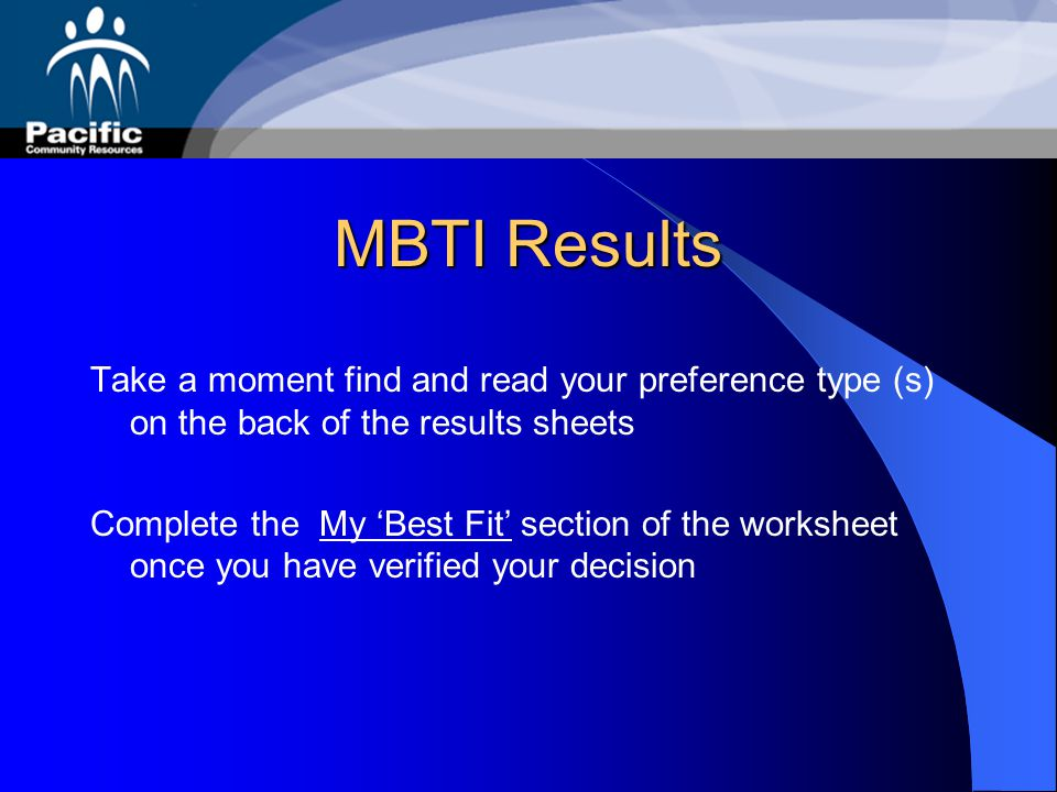 MBTI Results Now you will get the results of your MBTI assessment It may be the same or different from what you have on your worksheet