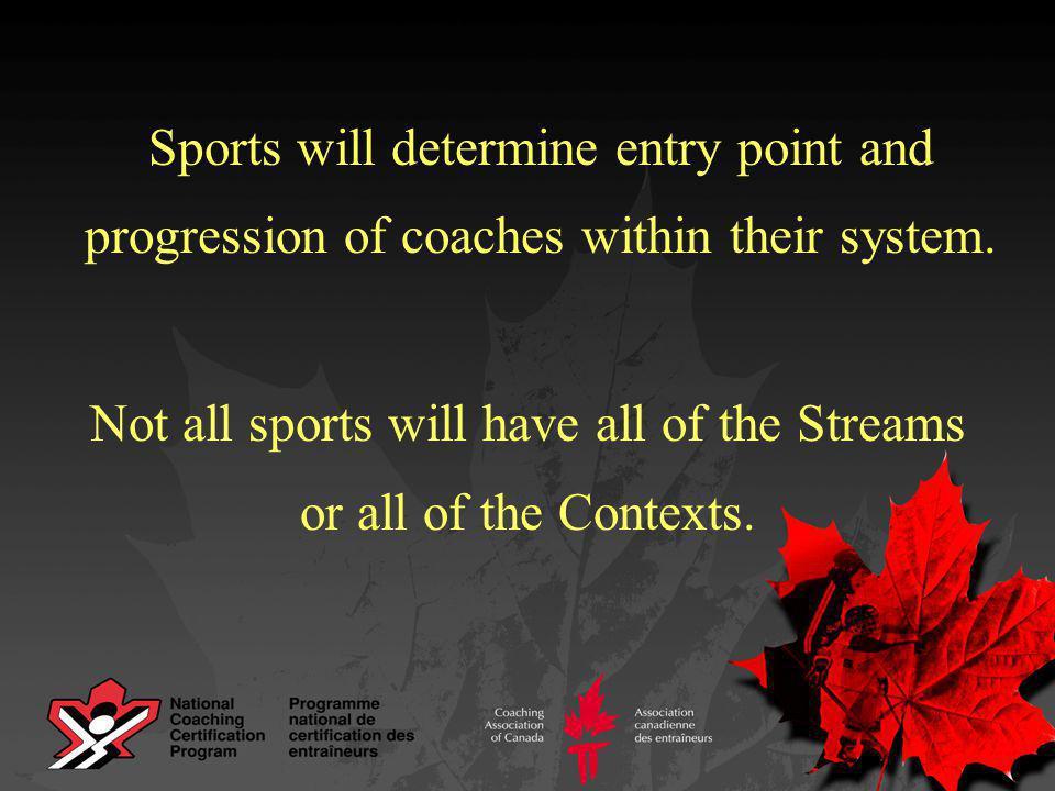 Sports will determine entry point and progression of coaches within their system.