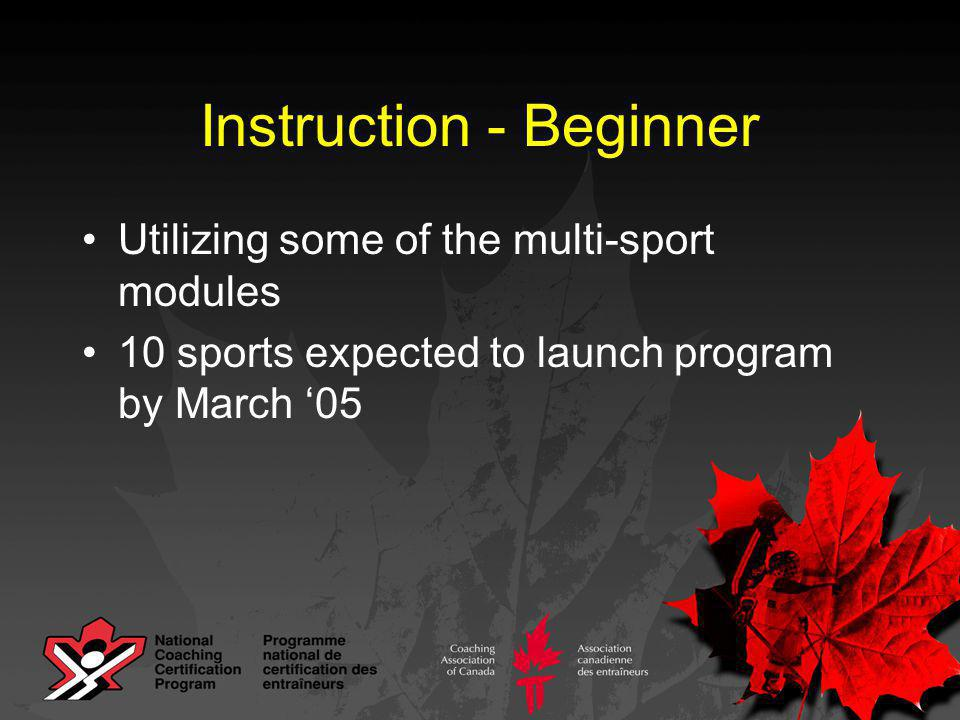 Instruction - Beginner Utilizing some of the multi-sport modules 10 sports expected to launch program by March '05