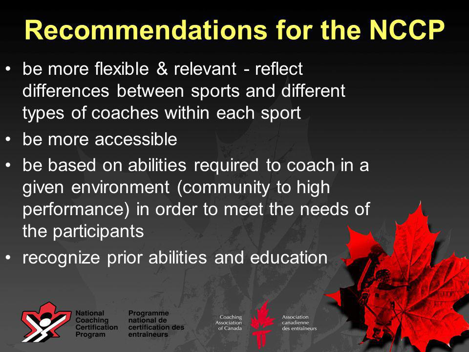 be more flexible & relevant - reflect differences between sports and different types of coaches within each sport be more accessible be based on abilities required to coach in a given environment (community to high performance) in order to meet the needs of the participants recognize prior abilities and education Recommendations for the NCCP