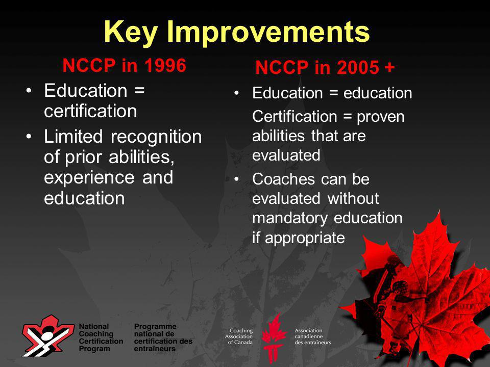 Key Improvements NCCP in 1996 No real fit for community coaches (entry point too demanding in course hours and content – theory 13.5 hrs plus technical plus practical) Content areas are presented separately, coaches are expected to integrate them NCCP in 2005 + Community coaches identified as a key type of coach for some sports, training tailored to their needs (8-10hrs, sport-specific) Using a problem-solving approach, coaches are trained to integrate new concepts/content in a way that is relevant to their situation