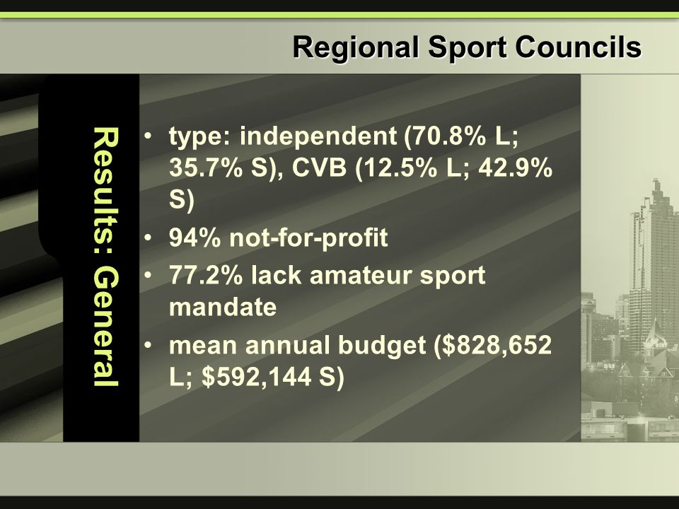 Results: General type: independent (70.8% L; 35.7% S), CVB (12.5% L; 42.9% S) 94% not-for-profit 77.2% lack amateur sport mandate mean annual budget (