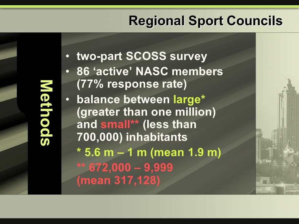 Methods two-part SCOSS survey 86 'active' NASC members (77% response rate) balance between large* (greater than one million) and small** (less than 700,000) inhabitants * 5.6 m – 1 m (mean 1.9 m) ** 672,000 – 9,999 (mean 317,128) Regional Sport Councils