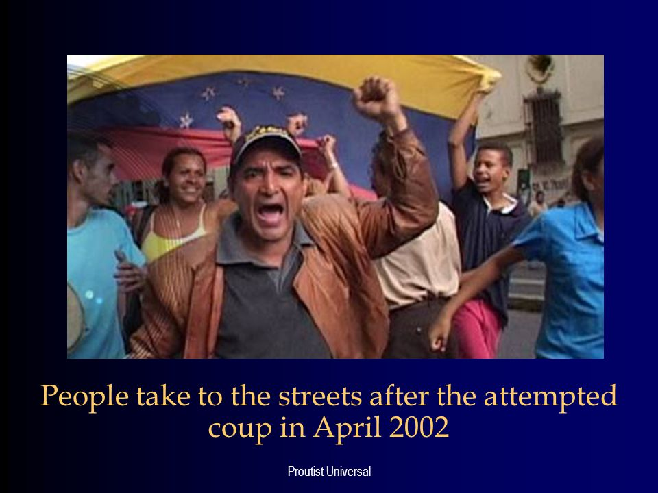 Proutist Universal People take to the streets after the attempted coup in April 2002