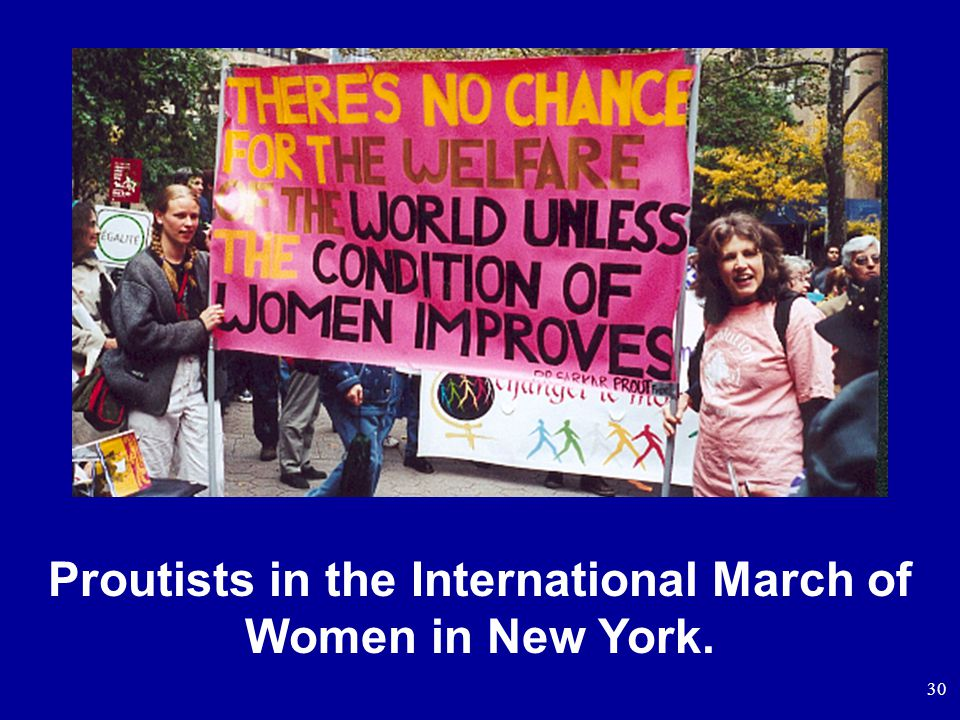 30 Proutists in the International March of Women in New York.