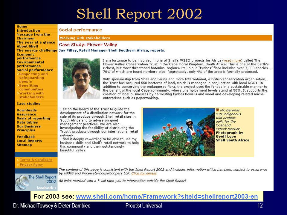Dr. Michael Towsey & Dieter DambiecProutist Universal12 Shell Report 2002 For 2003 see: www.shell.com/home/Framework?siteId=shellreport2003-enwww.shel