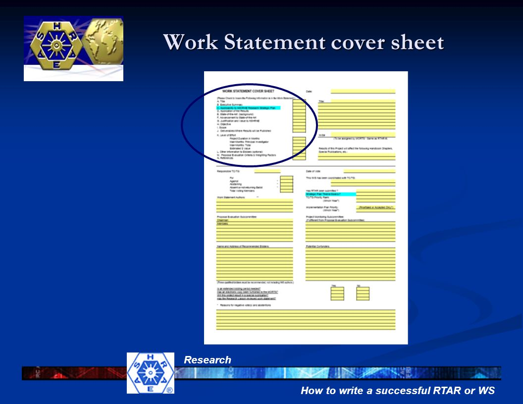 How to write a successful RTAR or WS Research Work Statement cover sheet