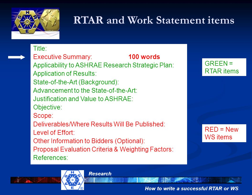 How to write a successful RTAR or WS Research Title: Executive Summary: Applicability to ASHRAE Research Strategic Plan: Application of Results: State-of-the-Art (Background): Advancement to the State-of-the-Art: Justification and Value to ASHRAE: Objective: Scope: Deliverables/Where Results Will Be Published: Level of Effort: Other Information to Bidders (Optional): Proposal Evaluation Criteria & Weighting Factors: References: GREEN = RTAR items 100 words RED = New WS items RTAR and Work Statement items
