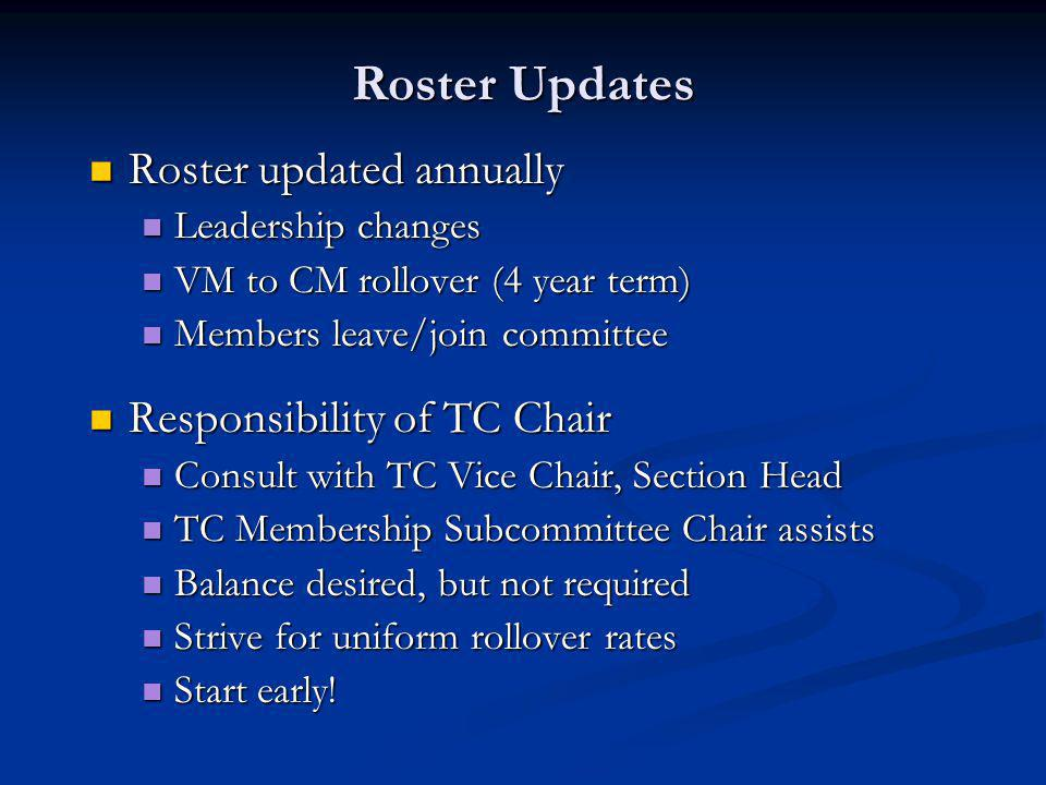 Roster Updates Roster updated annually Roster updated annually Leadership changes Leadership changes VM to CM rollover (4 year term) VM to CM rollover (4 year term) Members leave/join committee Members leave/join committee Responsibility of TC Chair Responsibility of TC Chair Consult with TC Vice Chair, Section Head Consult with TC Vice Chair, Section Head TC Membership Subcommittee Chair assists TC Membership Subcommittee Chair assists Balance desired, but not required Balance desired, but not required Strive for uniform rollover rates Strive for uniform rollover rates Start early.