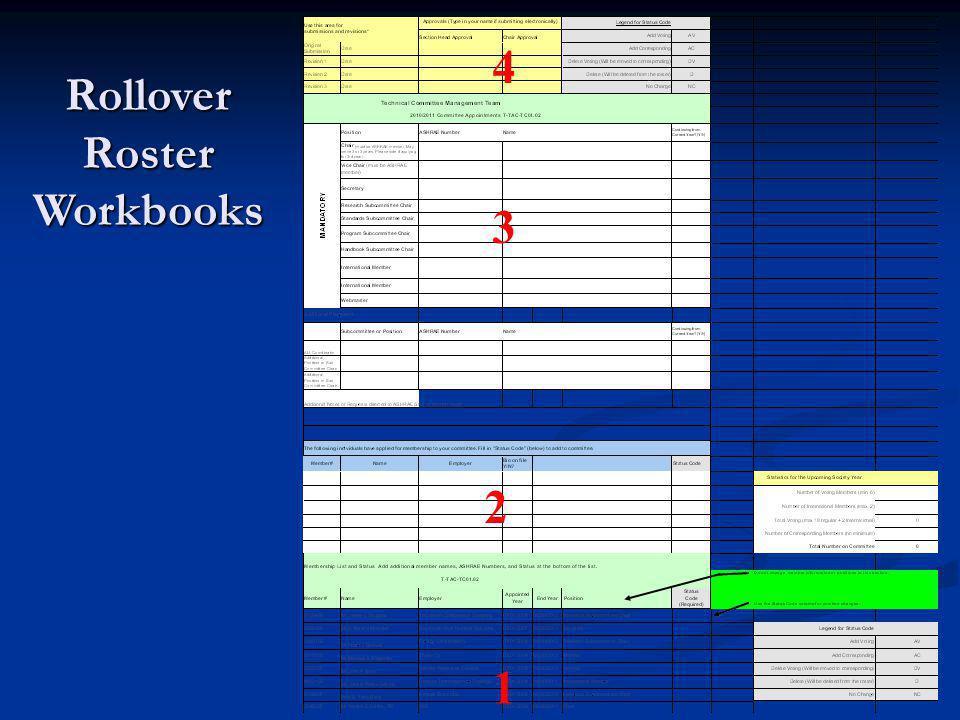 4 3 2 1 Rollover Roster Workbooks